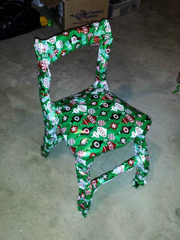 wrapped gift that is obviously a chair