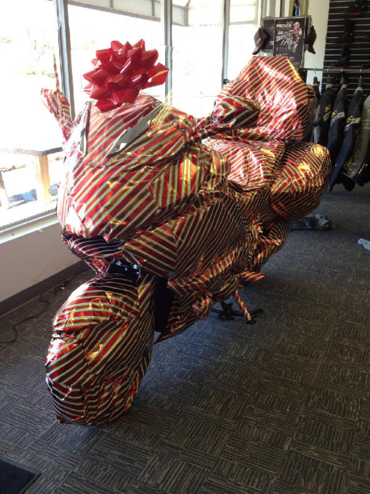 gift wrapped bike